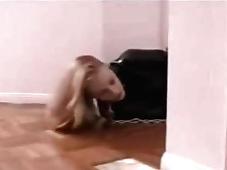 Straitjacketed Chick Fights To Door
