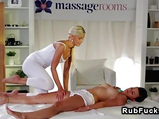 Blonde Masseuse Oils And Thumbs Twat